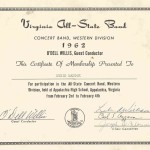 AHS Band All State 1962 certificate